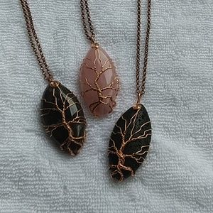 Natural stone tree of life necklace